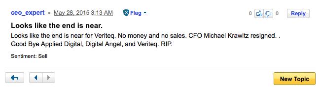 VeriTeQ lijkt failliet te gaan, tot groot plezier van enkele forum-bezoekers.